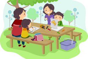 Illustration of a Family with Kids drawing while having their Picnic at the Park